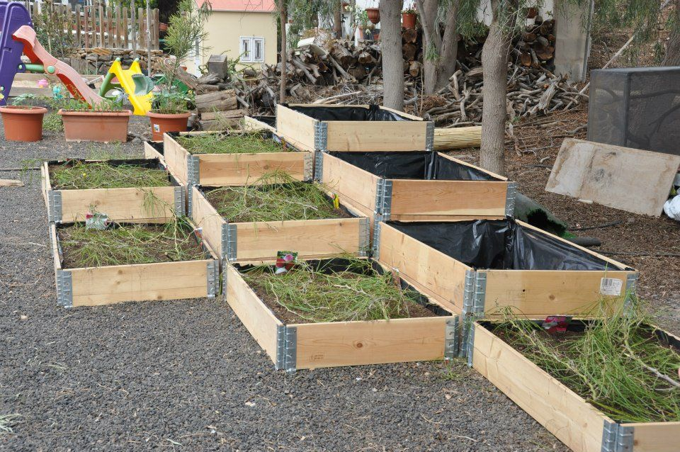 Jardinera de embalajes de madera apilables