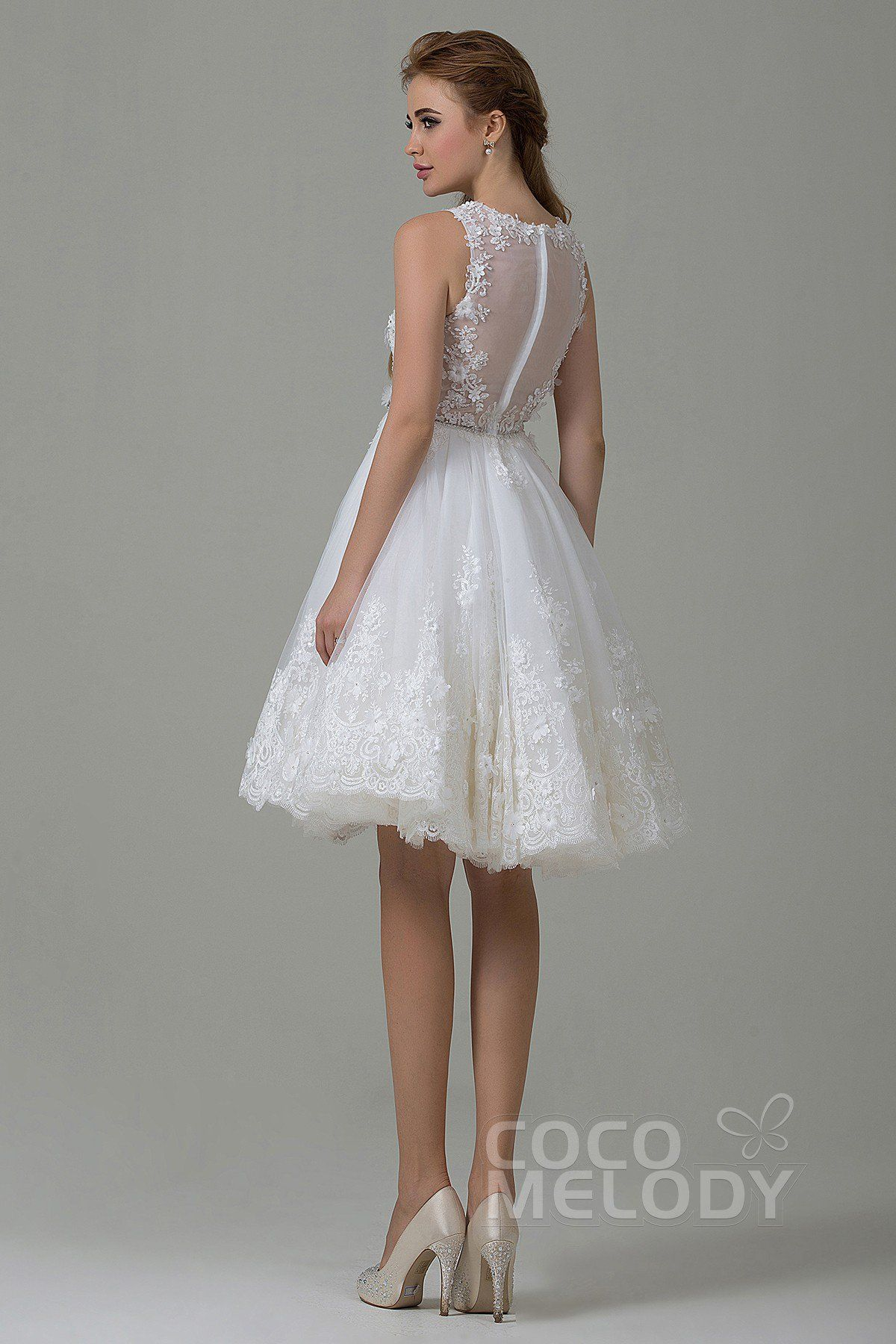 New arrival aline illusion natural knee length tulle and lace ivory
