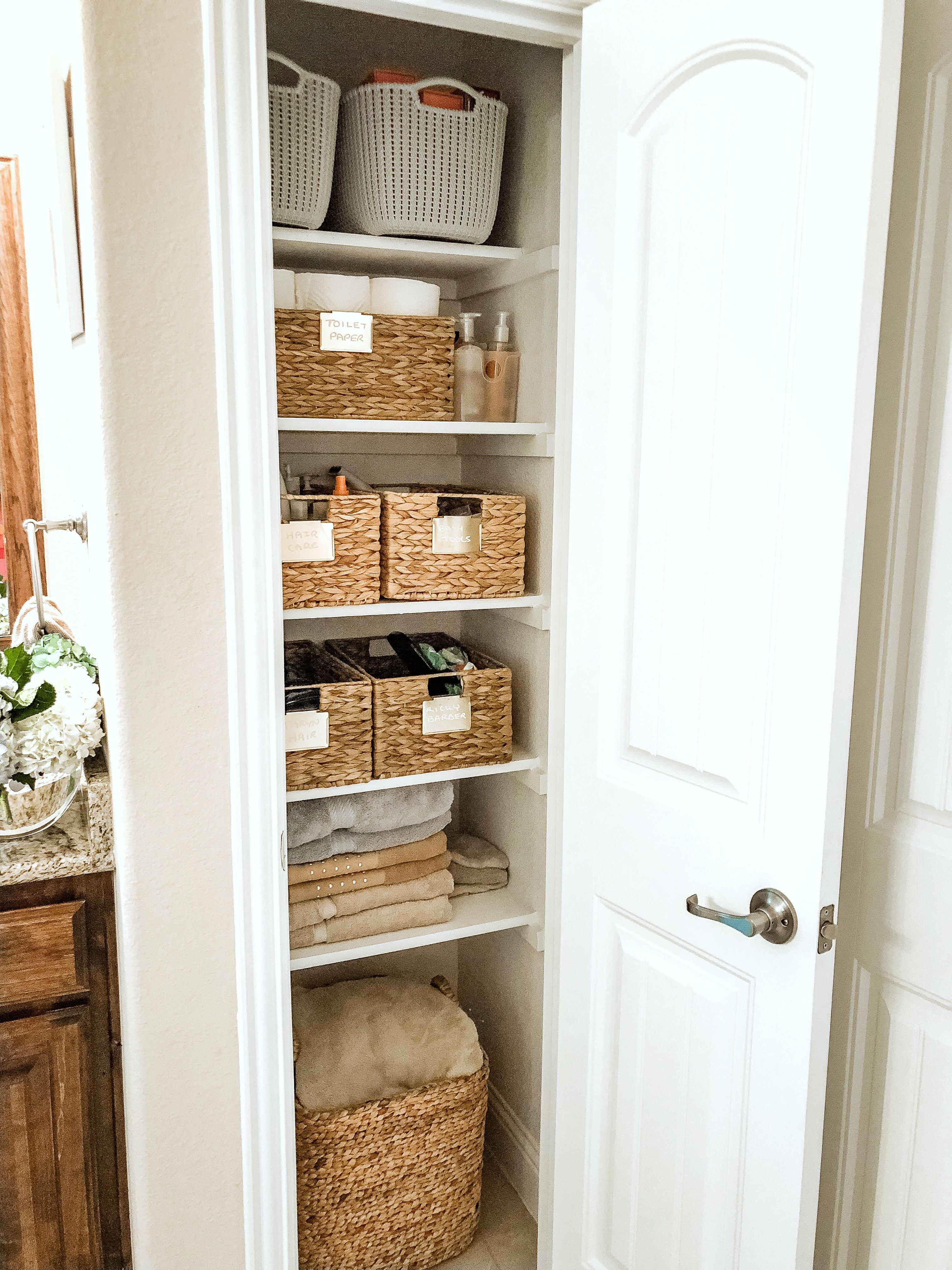 5 Steps To Organize Your Linen Closet Glamorous Versatility Bathroom Linen Closet Linen Closet Design Linen Closet