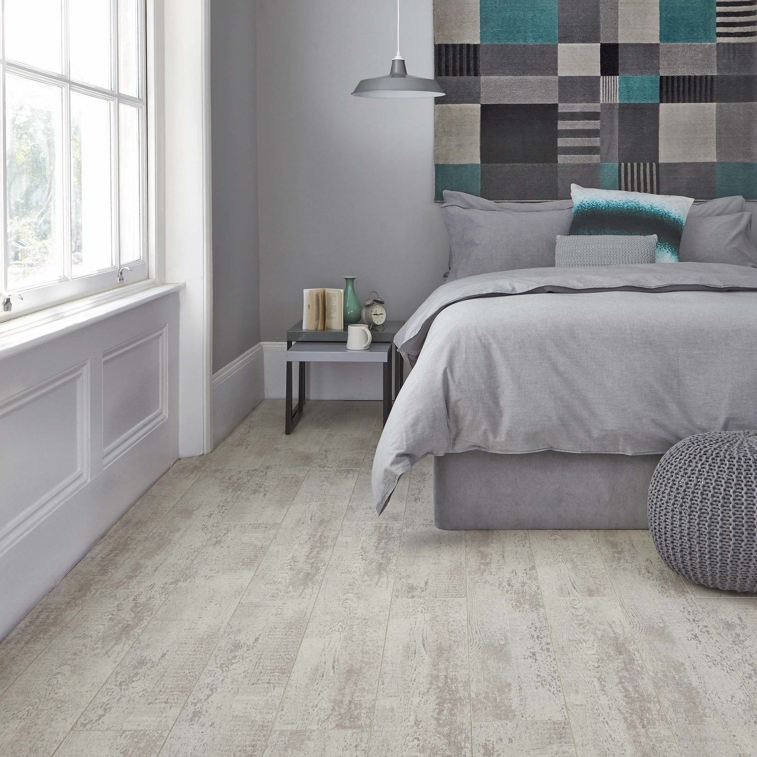 Quattro 8 Loft White Laminate Tile bedroom, Bedroom flooring