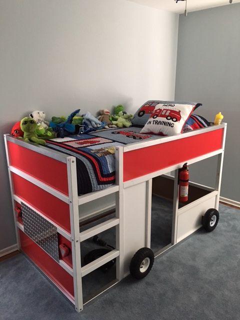 Fdny fire truck bunk bed from ikea kura wohnen und garten kinderzimmer kura bett ideen und - Kura bett ideen ...