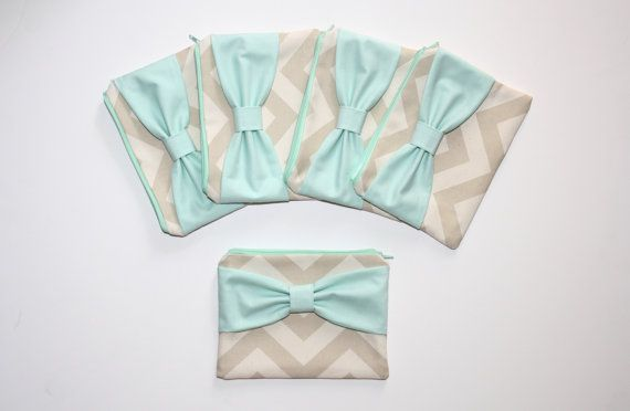 Bridesmaid Gift Set - Natural Beige Chevron Mint Bow by AlmquistDesignStudio on Etsy