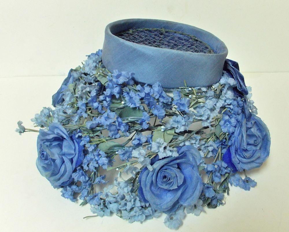 85d0c65f9fe VINTAGE 1950 S WOMAN S HYDRANGEA BLUE SILK FLOWER MESH HAT BY MISS ALICE   MISSALICE  Church  Wedding