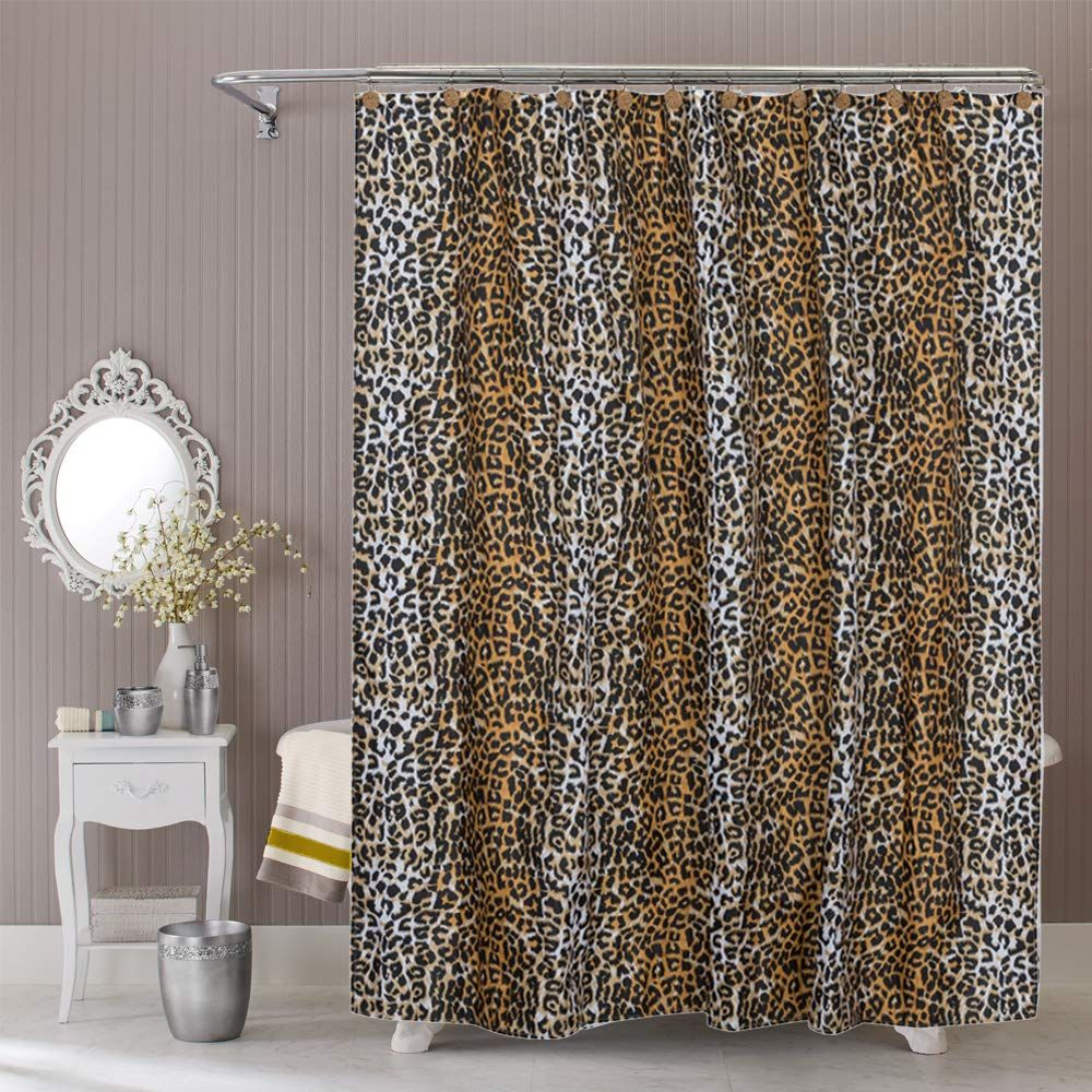 Royacor Fabric Shower Curtain With 12 Polyresin Hooks Water