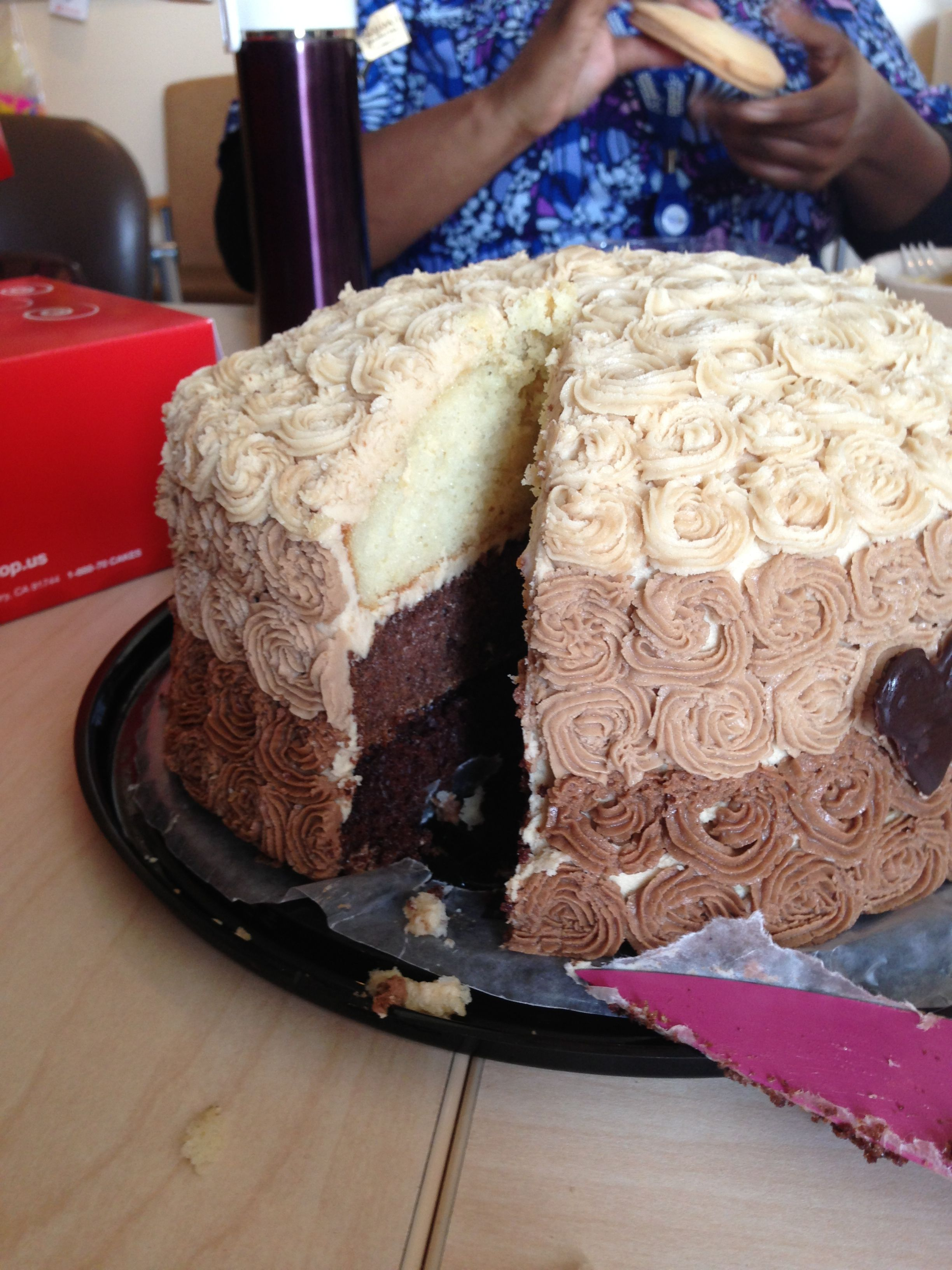Vanilla/chocolate ombre cake with speculoos cocoa buttercream frosting!