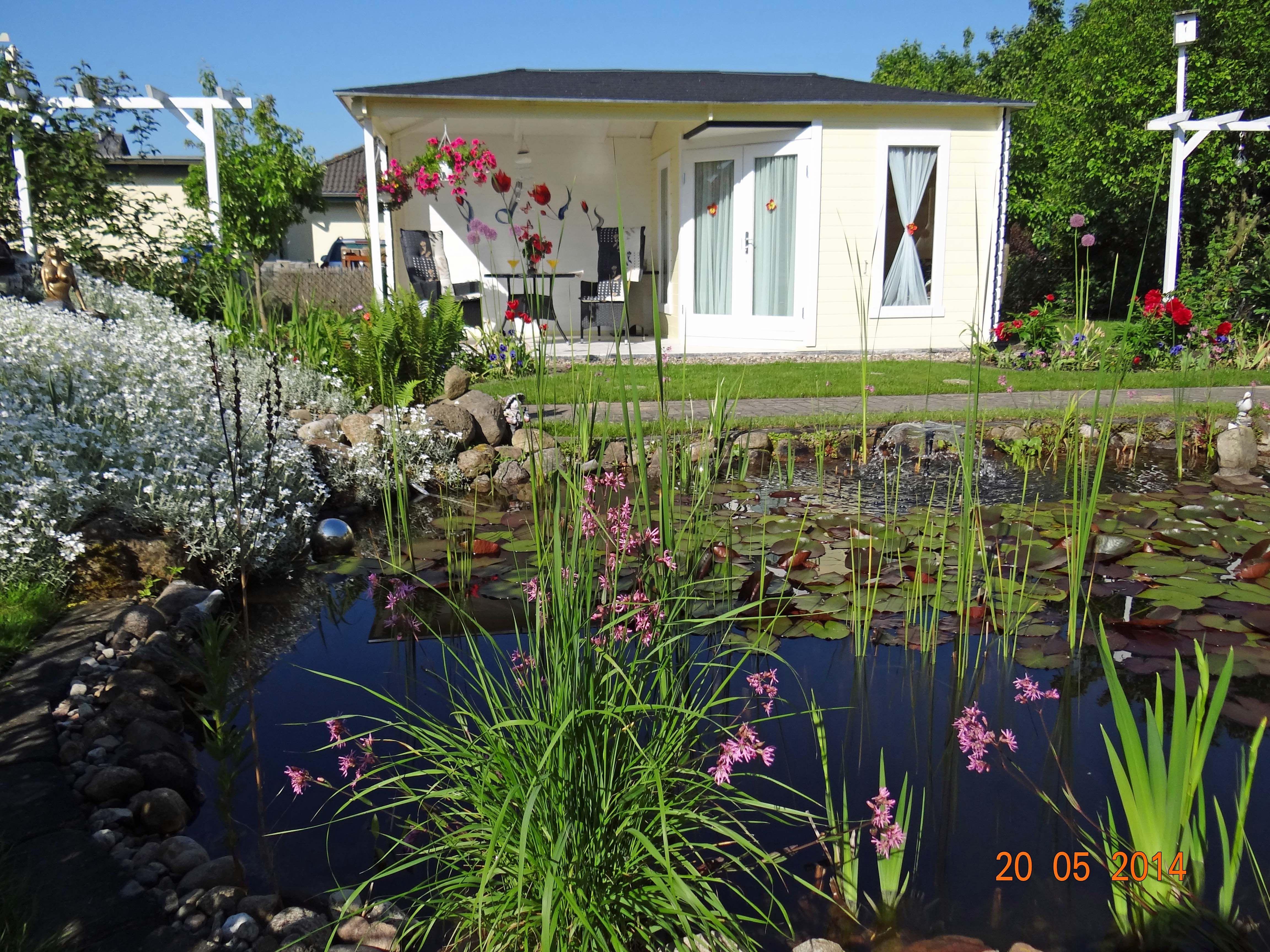 Ein Ort zur Entspannung: Großer Gartenteich und schnuckeliges