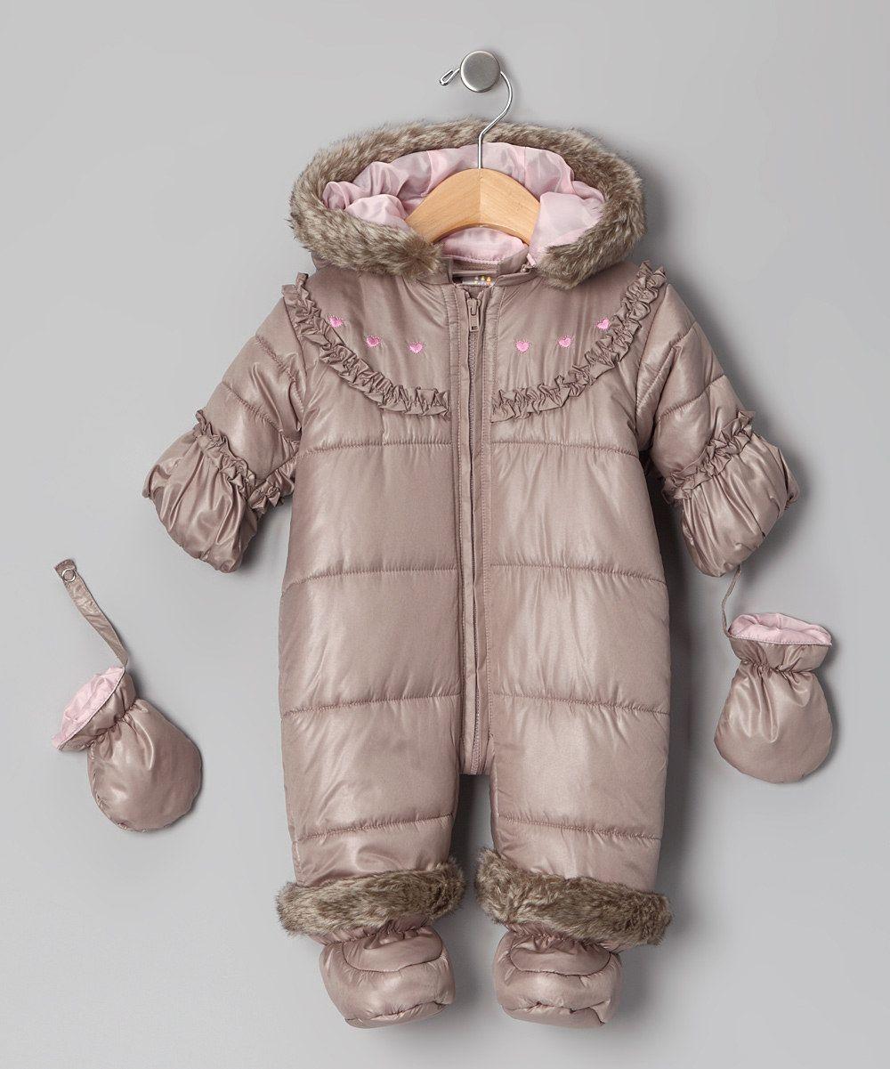 Brown Faux Fur Snowsuit & Mittens - Infant
