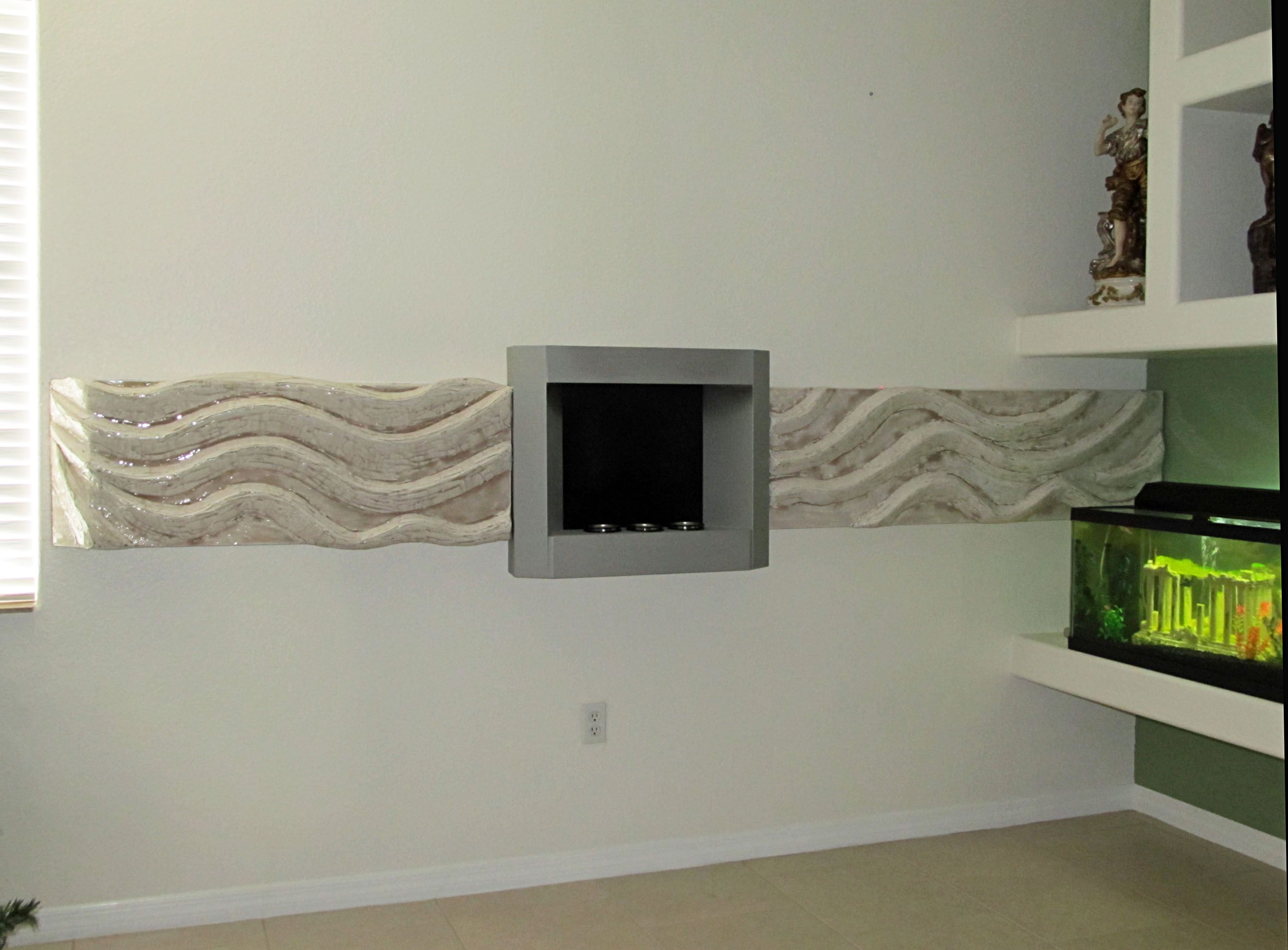 Fireplace Surround Waves Made Of Wood Pulp Art By Dedo