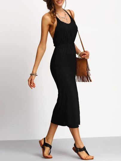 d6ce54777d8 Black Slim Racerback Slit Dress Fashion Styles