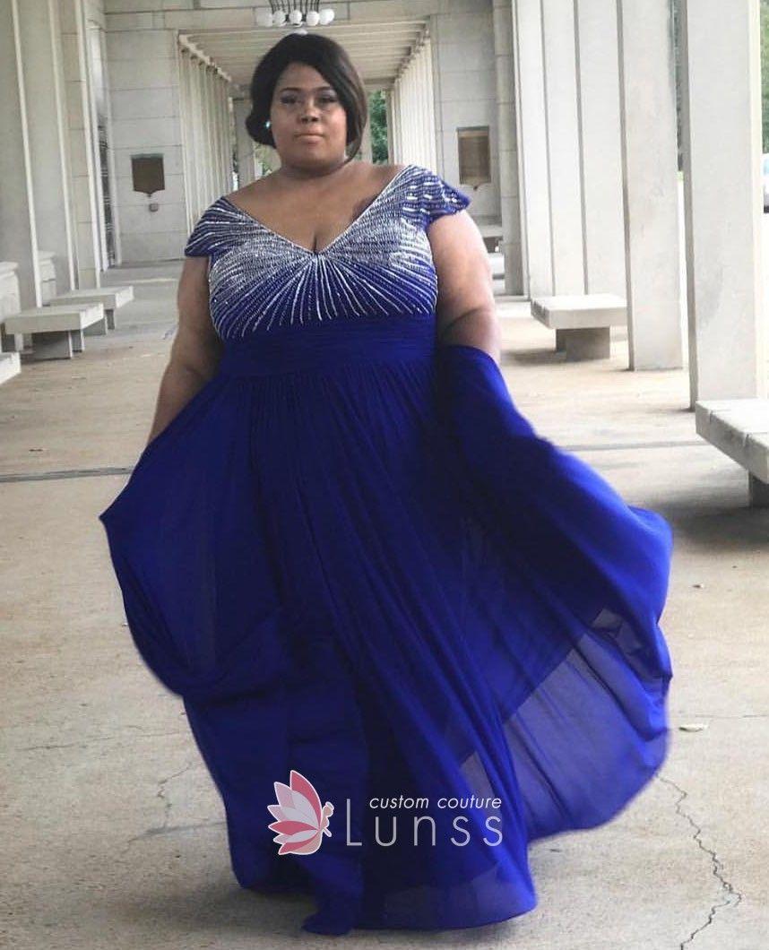 Beaded Cap Sleeve V Neck Plus Size Royal Blue Chiffon Prom Dress Blue Plus Size Dresses Royal Blue Dresses Plus Size Prom Dresses [ 1060 x 858 Pixel ]
