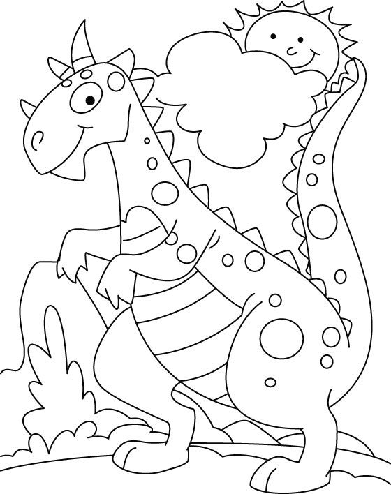 dinosuar in park coloring pages - Kindergarten Coloring Page