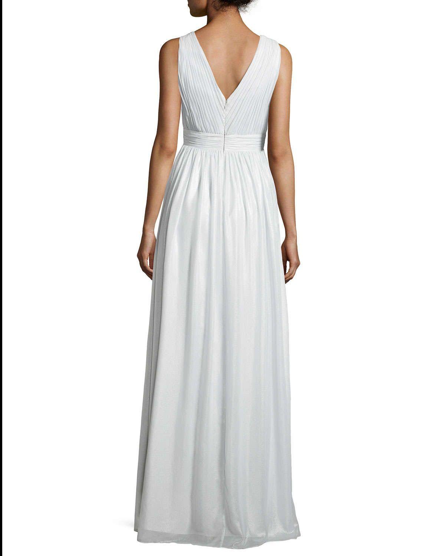 Sleeveless Deep-V Beaded-Inset Gown