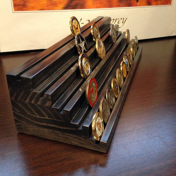 12 inch 5 Tier Solid Wood Challenge Coin Holder by