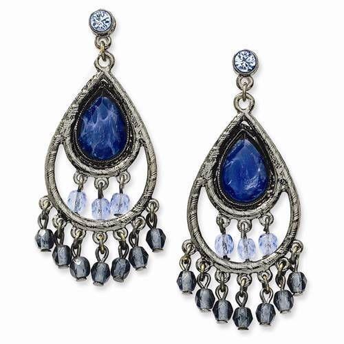 "NEW 1928 BLACK PLATED LT & DK BLUE GLASS BEADS 2"" LONG CHANDELIER POST EARRINGS #1928 #Chandelier"