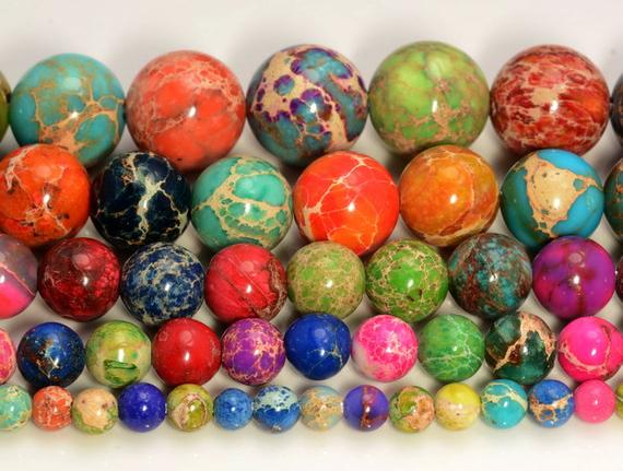 Multi Color Sea Sediment Imperial Jasper Gemstone 4mm 6mm 8mm Etsy In 2020 Loose Beads Etsy Multi Color