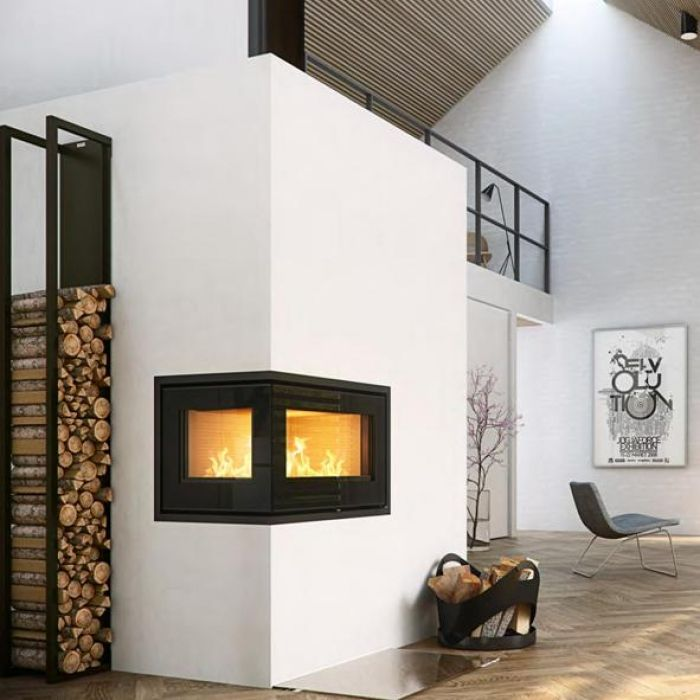 Looking for a u s distributor for a corner open on 2 Contemporary wood fireplace insert