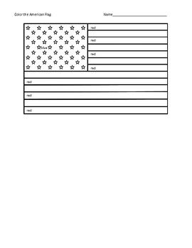 this is an american flag with color words provided to assist kids