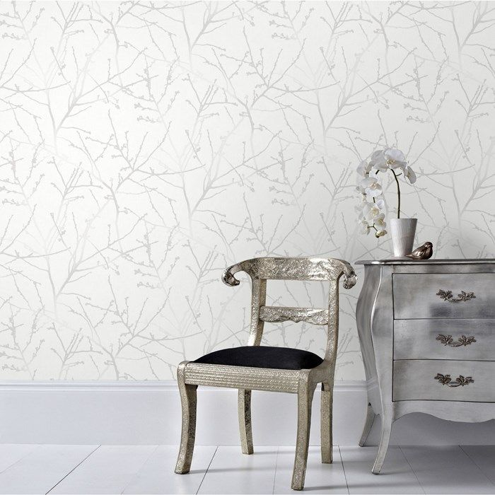 Innocence White Mica Wallpaper By Graham And Brown | Wallpaper
