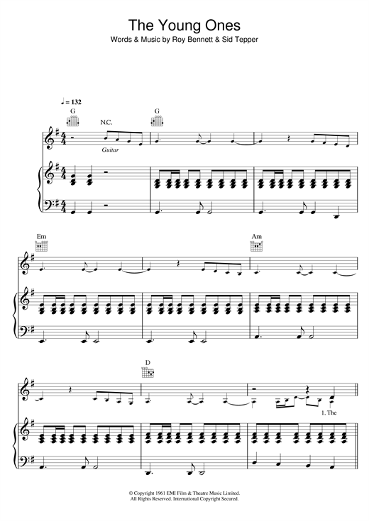 Cliff Richard The Young Ones Sheet Music Notes Chords Download