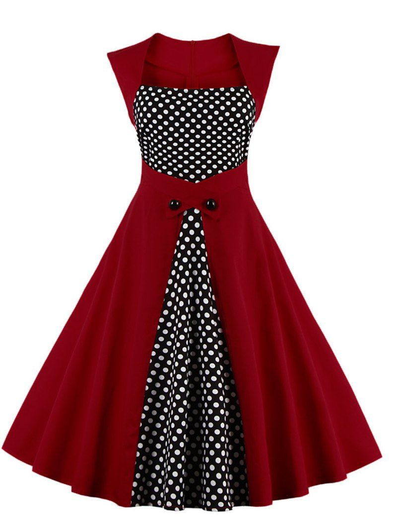 4c1452e5dd7a Vintage Pin-Up Swing Floral Polka-Dot Rockabilly Dress* (S-5XL) in 2019 |  quinceñera | Vintage red dress, Vintage tea length dress, Retro dress