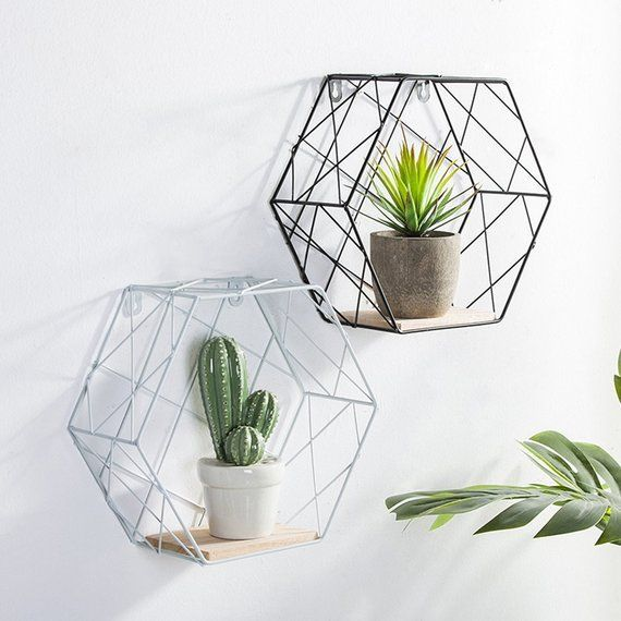 Geometric Wire And Wood Shelf Black Or White Hipster Hexagon Nordic Modern Storage Rack Wall Han Simple Apartment Decor Decor Simple Apartments