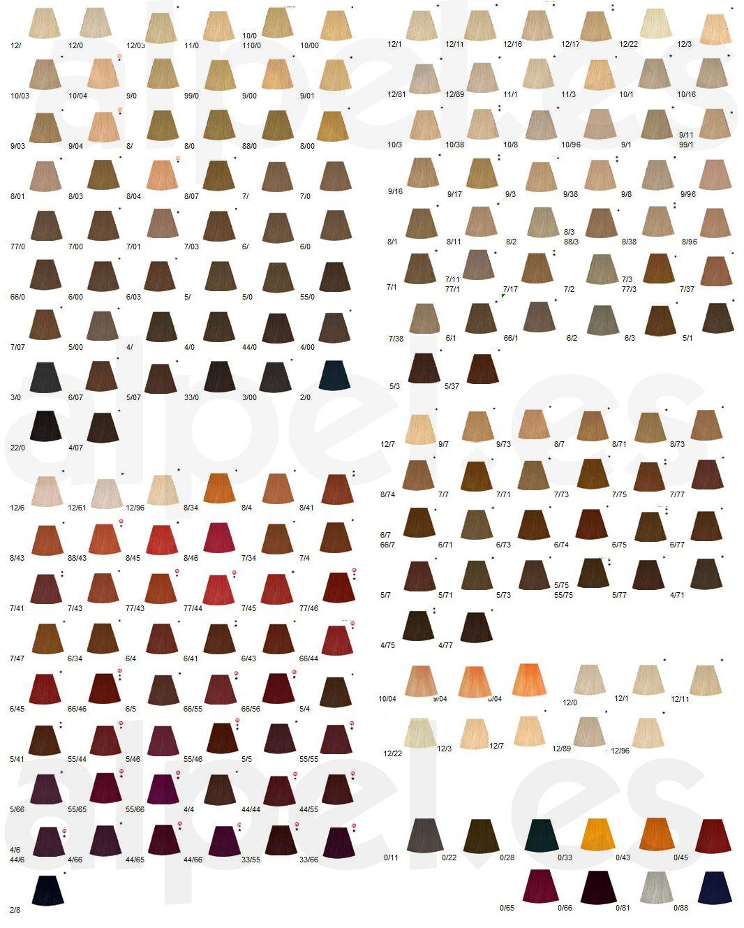 Wella Koleston Permanent Hair Colour Hairlight Hair Beauty Wella Hair Color Chart Wella Hair Color Wella Colour Chart