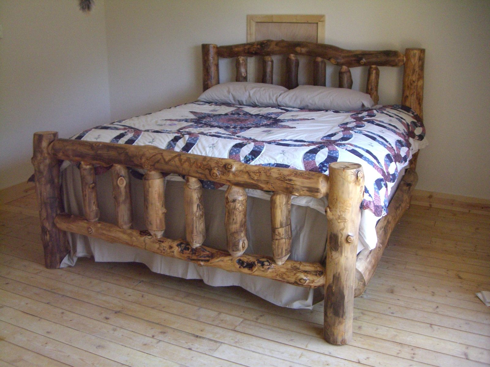 Aspen Log Beds Bed frame and headboard, Reclaimed wood