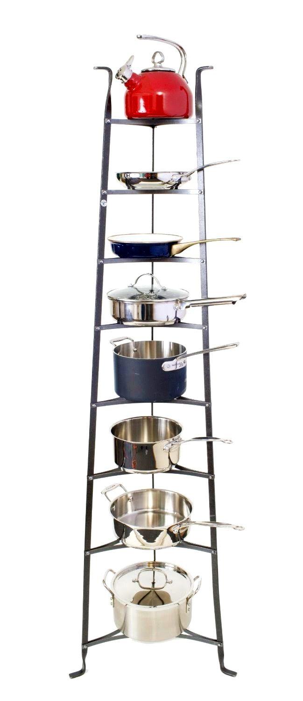 Kitchen:Handsome Enclume Tier Cookware Stand Standing Pot Rack Hammered Copper Ladder 8 Antique Free Ikea Storage Technologies Racks Kitchen Hanger Metal Wrought Iron Adjustable Floor Le Creuset standing pot rack