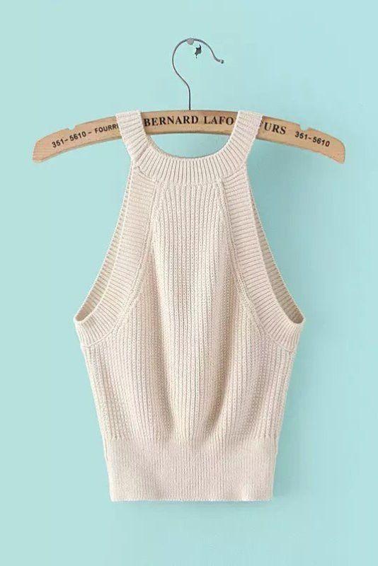 bfc5e73553 Sleeveless Cropped Knit Top In Cream Tops De Bikini