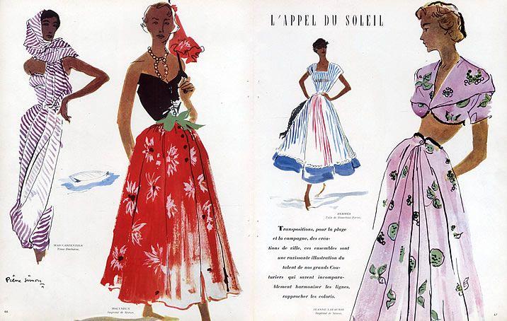 Pierre Simon 1949 Mad Carpentier, Molyneux, Hermès, Jeanne Lafaurie, Fashion Illustration by Pierre Simon | Hprints.com
