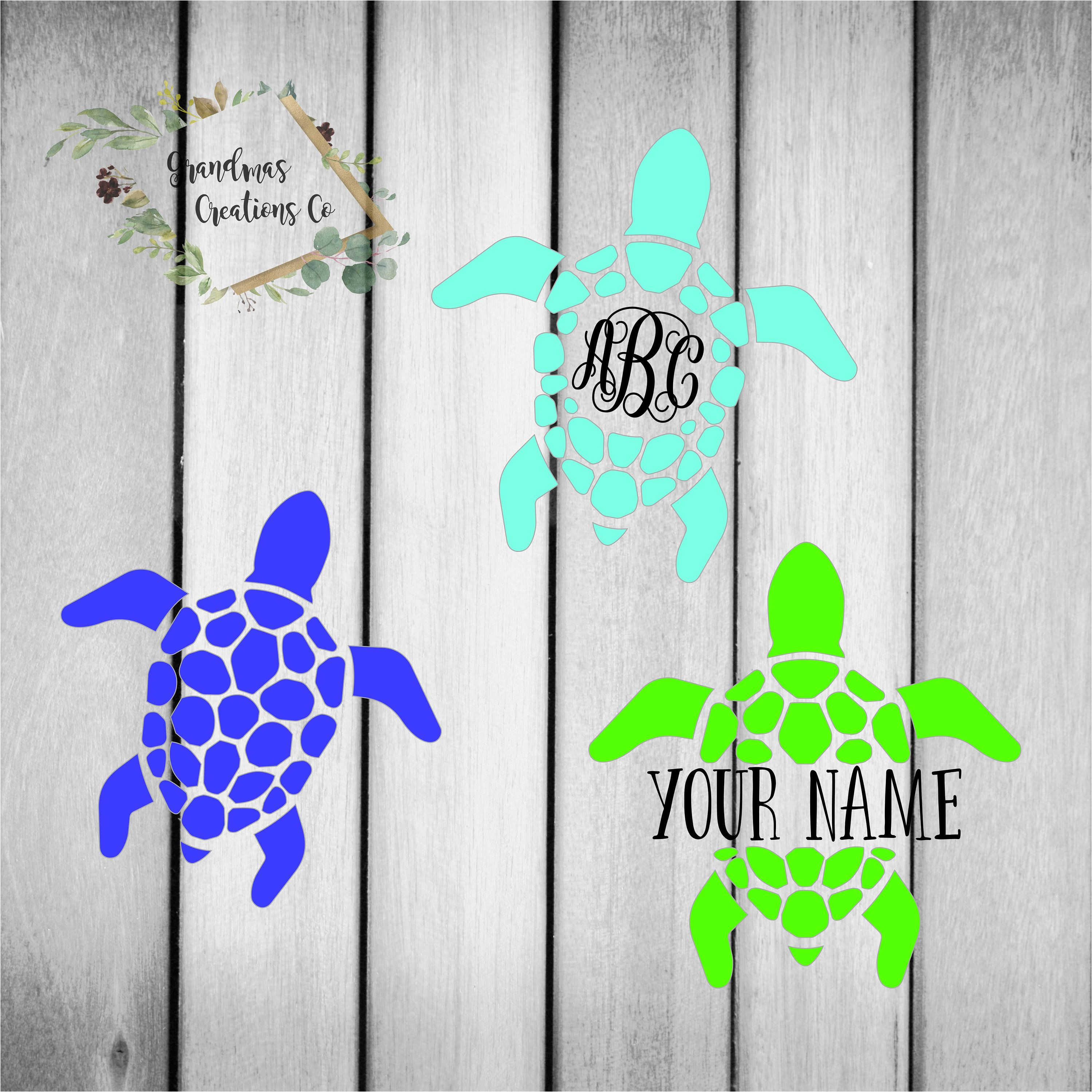 Sea Turtle Monogram Car Decal Turtle Gifts Yeti Decal For Etsy Car Monogram Decal Turtle Car Car Decals [ 3000 x 2999 Pixel ]