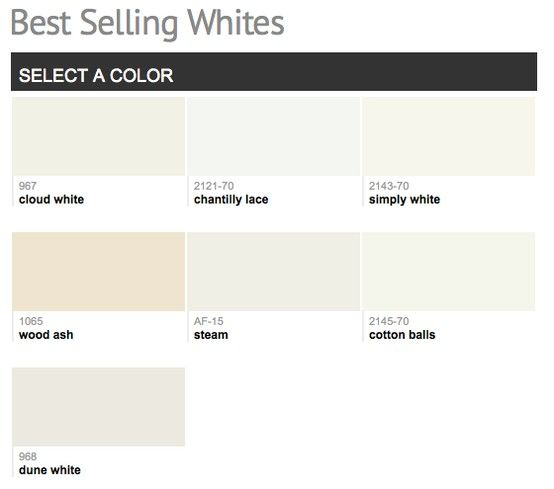 Best Selling U0026 Popular Shades Of White, Ivory, U0026 Light Neutral Paint Colors  From