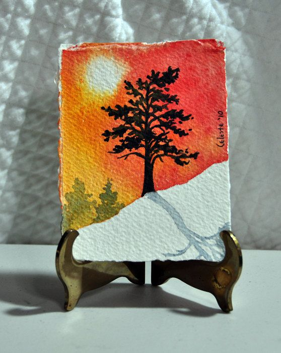 Original Miniature Watercolor Painting Winter Tree With Snow And Sunrise 2300 Via Etsy