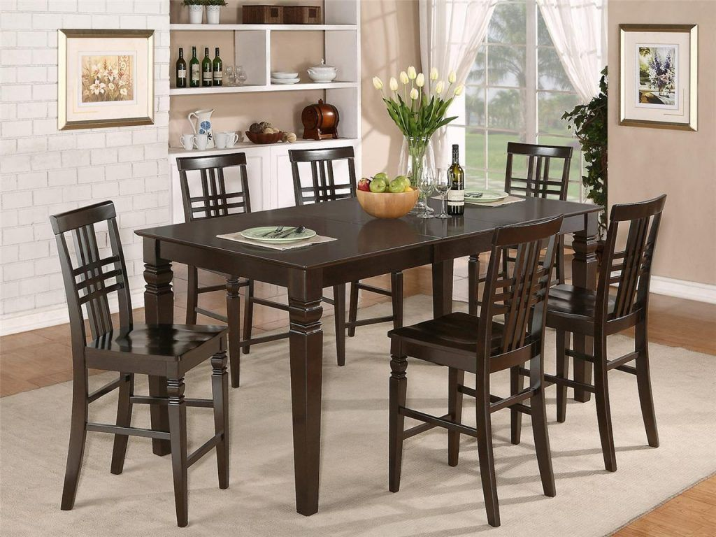 Bar height dining table set furniture winning round bar height table and chairs dining room