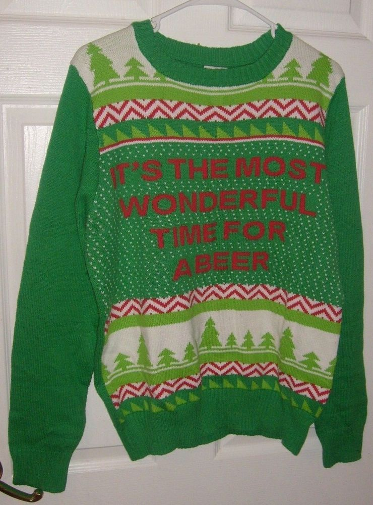 Details About Most Wonderful Time For Beer Christmas Sweatshirt Ugly