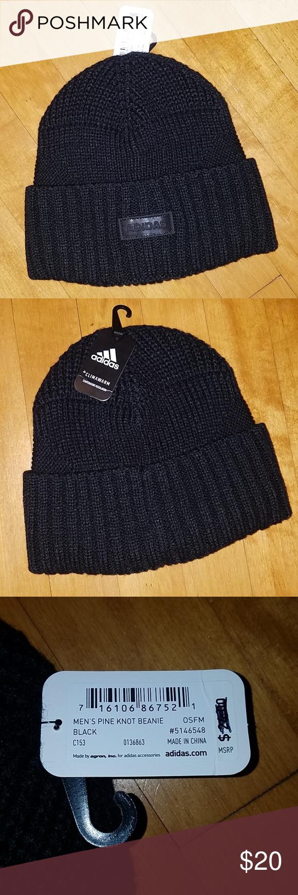 782912142 Adidas Climawarm Black Warm Beanie Knit hat Men's Pine knot beanie ...