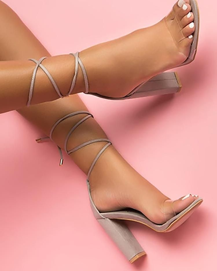 Comfy Lace Up Chunky Heels Sandals in