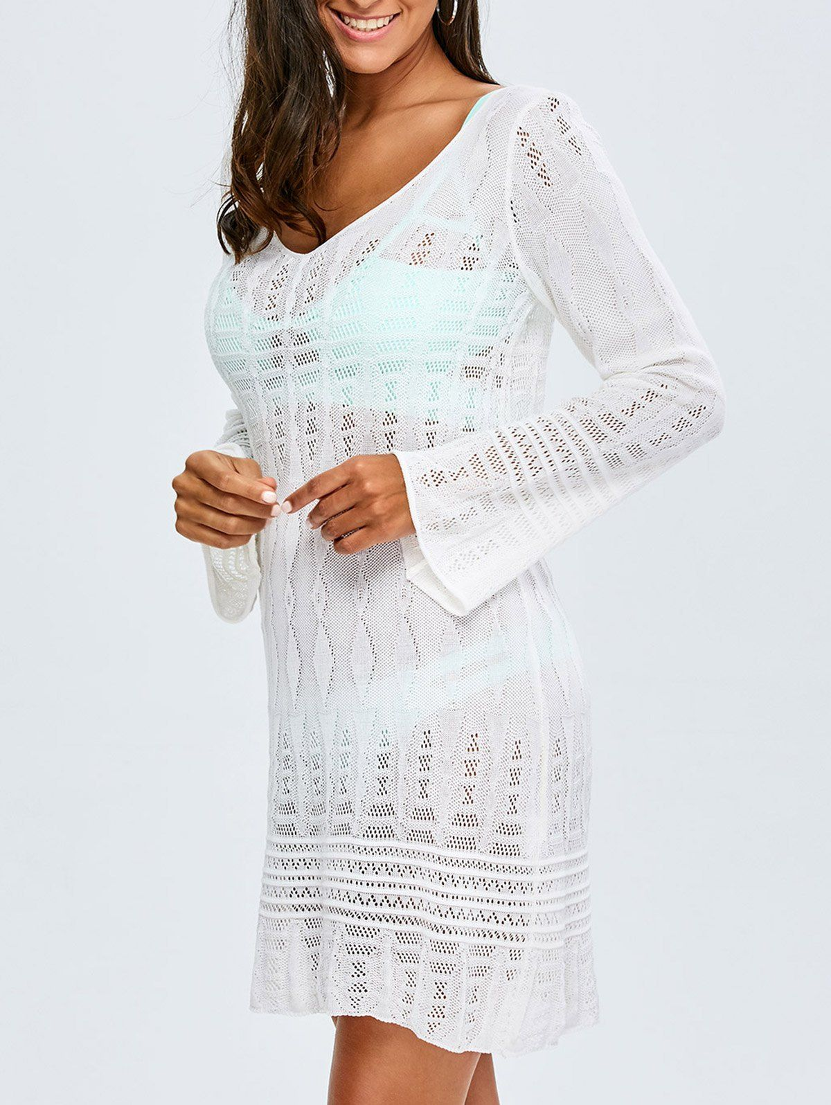 Long Sleeve Crochet Cover Up White Cover Ups Zaful Beach Coverup Dress Beach White Dress Dresses For Sale [ 1596 x 1200 Pixel ]