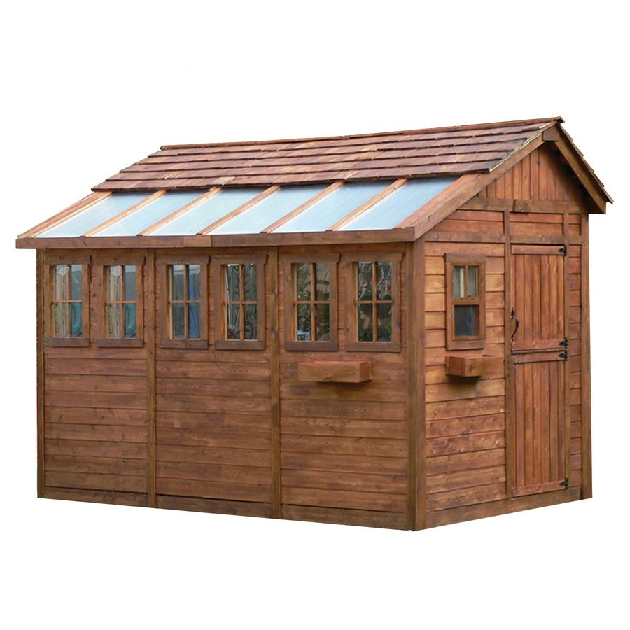 Shop outdoor living today 8 ft x 12 ft saltbox cedar for Garden shed january sale