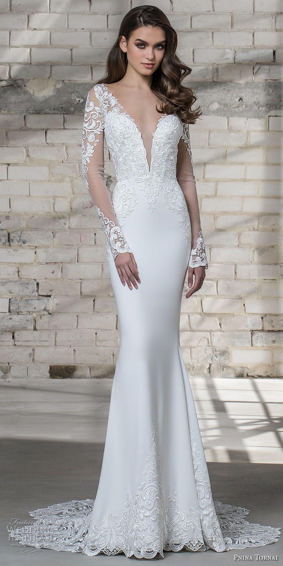 Pnina Tornai 2019 Love Bridal Long Sleeves Deep Plunging V Neck Heavily Embellished Pnina Tornai Wedding Dress Sheath Wedding Dress Lace Elegant Wedding Dress [ 1800 x 900 Pixel ]