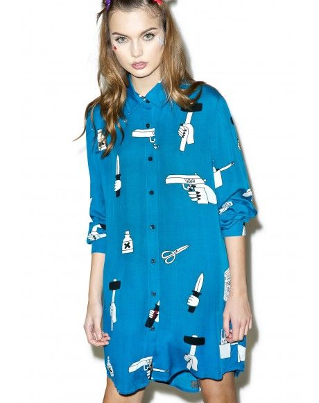 #DollsKill #LazyOaf #model #photoshoot #lookbook #cute #girl #shirt #buttons #buttondown #dress #killer #gun #knife #scissors #blue #white #black #longsleeve