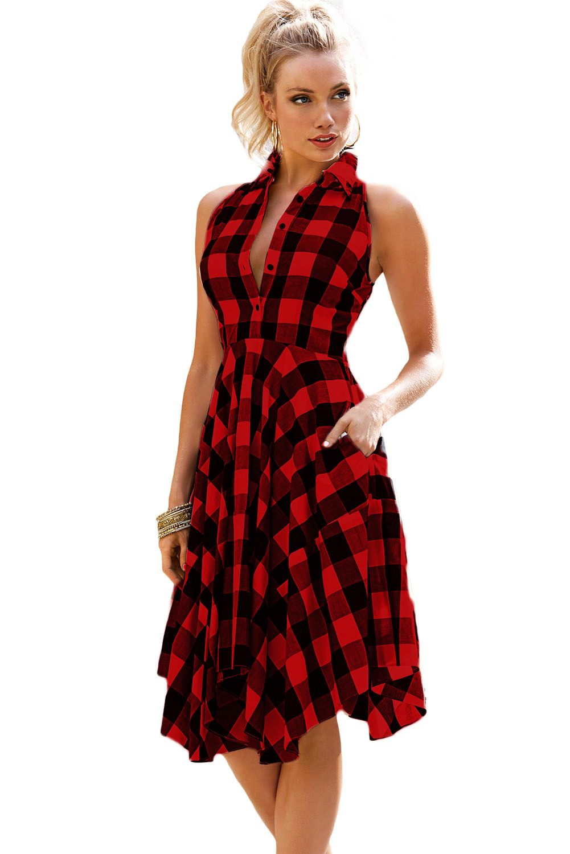 7eb3d1b97e2 Red Black Denim Checks Flared Shirtdress