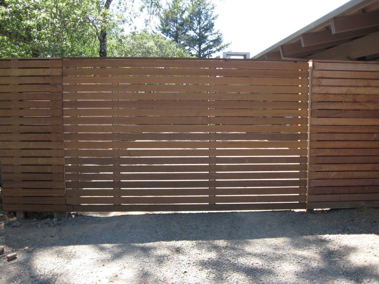 Horizontal Wooden Slat Driveway Gate Driveway Gate Wood Gates
