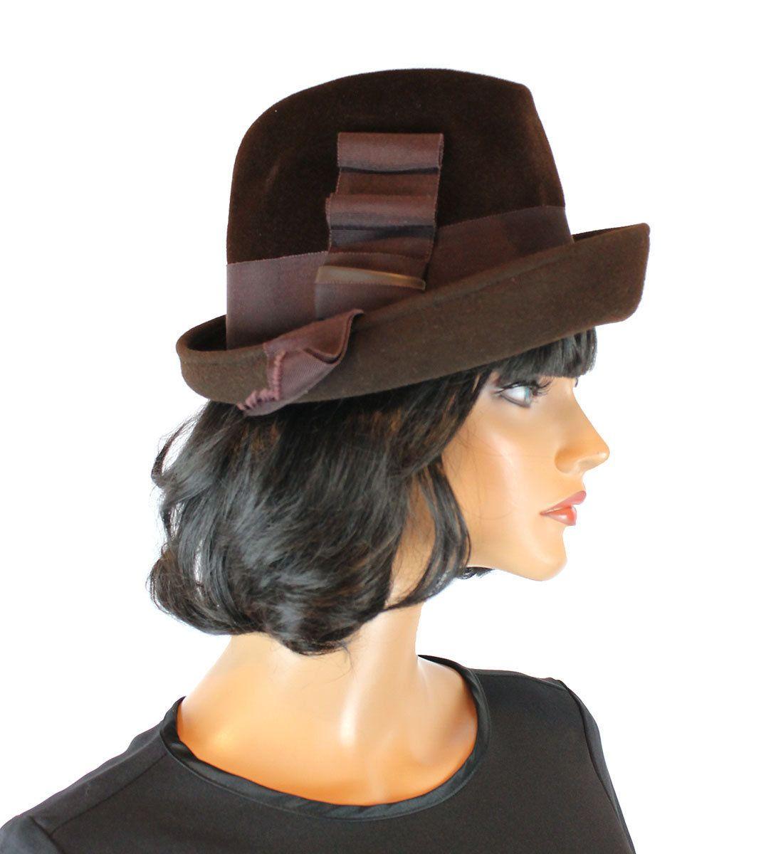 Fur Felt Hat Sz 7 1 4 L Dark Chocolate Brown Bumper Grosgrain Ribbon  Sheraton 6963590c837e