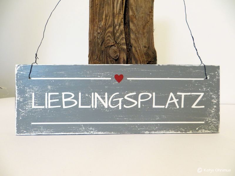 lieblingsplatz holzschild holzdekoration schild dekoschild shabby vintage handarbeit ein. Black Bedroom Furniture Sets. Home Design Ideas