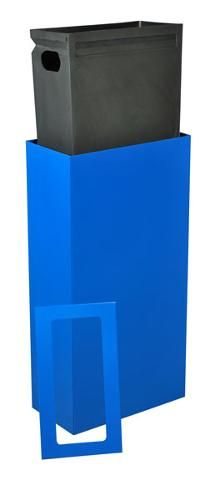 Tall Slim Trash Cans 17 Gallon Steel Rectangular Trash Can Blue