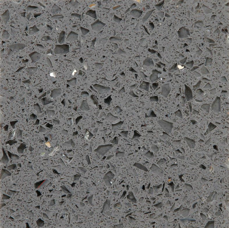 Polished Crystal Dark Grey Quartz Countertops For Kitchens