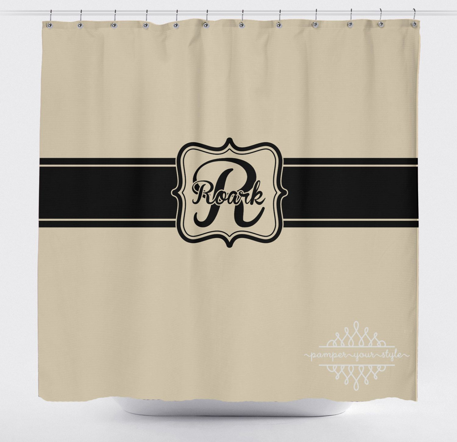 Tan and black monogrammed shower curtain classy bathroom shower