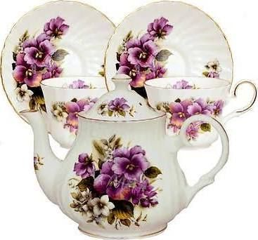 tea set purple china - Google Search