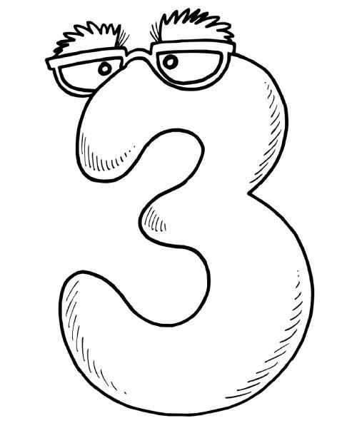 math coloring pages the number 3 - 3 Coloring Page